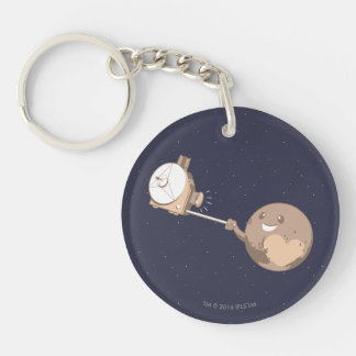 Pluto Selfie Double-Sided Round Acrylic Key Ring