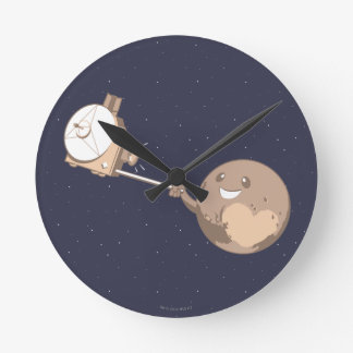 Pluto Selfie Round Clock