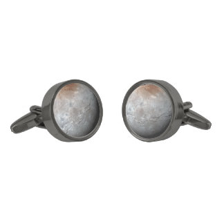 Pluto's Largest Moon: Charon Gunmetal Finish Cuff Links