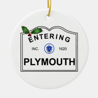 Plymouth MA Ceramic Ornament