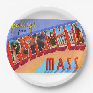 Plymouth Massachusetts MA Vintage Travel Souvenir 9 Inch Paper Plate