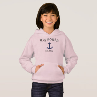 Plymouth Massachusetts Pink hoodie for girls.