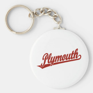 Plymouth script logo in red basic round button key ring