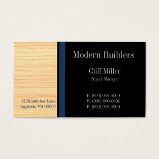 Plywood Construction Business Card, Marine Blue Business Card