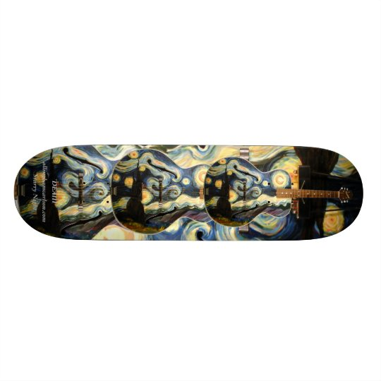 PMACarlson Starry Night Guitar 20 Cm Skateboard Deck