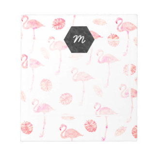 Pnk watercolor flamingo tropical monstera notepad