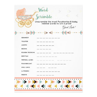 Pocahontas/Boho Baby Shower Word Scramble Game Flyer