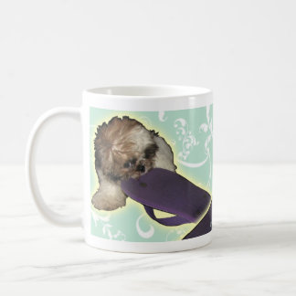 Pochi Puppy with Purple Flipflop Coffee Mug