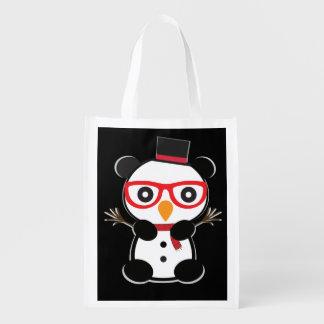 Pocket Panda Bear Snowman Tote Bag -Leon The Panda