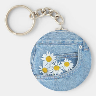 Pocketful of daisies basic round button key ring