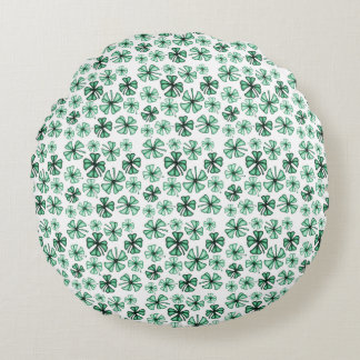 Pod Green Lucky Shamrock Clover Round Cushion