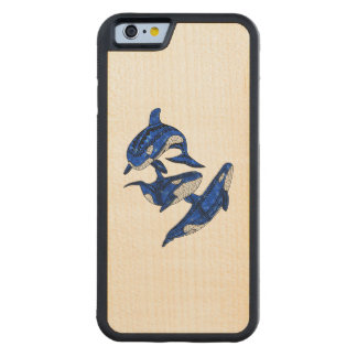 Pod Of 3 Tribal Orcas Carved Maple iPhone 6 Bumper Case