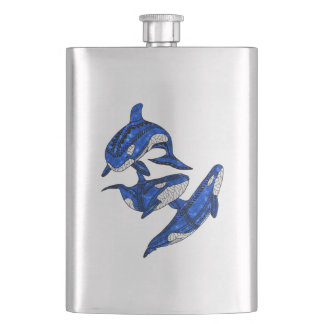 Pod Of 3 Tribal Orcas Hip Flask