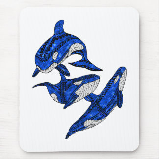 Pod Of 3 Tribal Orcas Mouse Pad