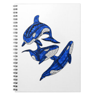 Pod Of 3 Tribal Orcas Notebooks