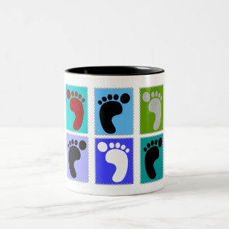 Podiatrist Gifts Popart Design of Feet Two-Tone Mug
