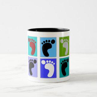 Podiatrist Gifts Popart Design of Feet Two-Tone Mug