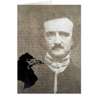 Poe And The Raven Grunge Digital Art, Birthday Card