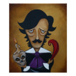 Poe Poster Edgar Allan Poe caricature art Print