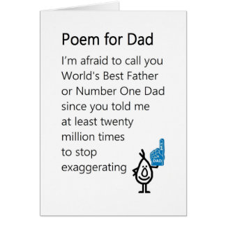 Poem for Dad - a funny Father's Day Poem Greeting Card