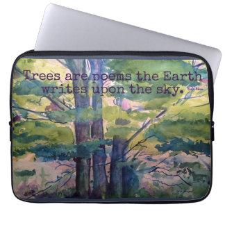 Poem Watercolor Trees Laptop Sleeve