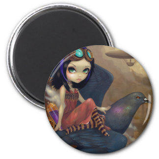 """Poe's Flight"" Mousepad 6 Cm Round Magnet"