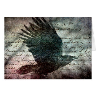 Poe's Grunge Raven, Birthday Card