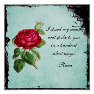 Poetic Rumi Quote Typography with Vintage Red Rose Poster