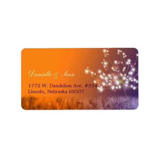 Poetic Twilight Dandelion Floral Wedding Address Label