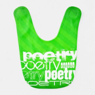 Poetry; Neon Green Stripes Baby Bib