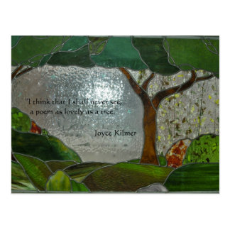 Poetry on Stained Glass Postcard