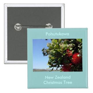 Pohutukawa Tree and Blossom 15 Cm Square Badge