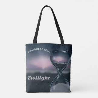 Poignant Sands Of Time Hourglass Sunset On Beach Tote Bag