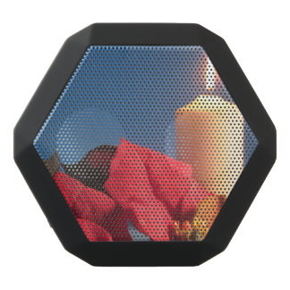 Poinsettia and Candle Custom Boombot REX, Black Black Bluetooth Speaker