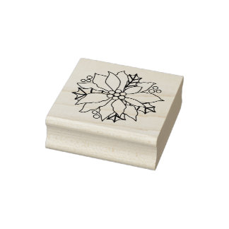 Poinsettia And Holly Christmas Rubber Stamp