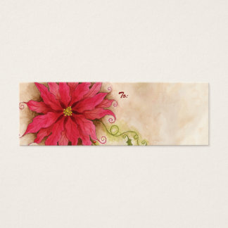 Poinsettia and Holly Gift Tag Mini Business Card