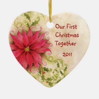 Poinsettia and Holly Ornament