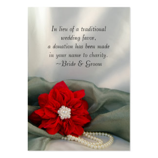 Poinsettia and Pearls Winter Wedding Charity Favor Pack Of Chubby Business Cards