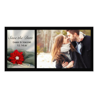 Poinsettia and Pearls Winter Wedding Save the Date Photo Card Template