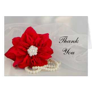 Poinsettia and Pearls Winter Wedding Thank You Greeting Cards