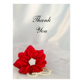 Poinsettia and Pearls Winter Wedding Thank You Post Cards