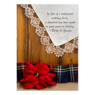 Poinsettia and Plaid Winter Wedding Charity Favor Pack Of Chubby Business Cards