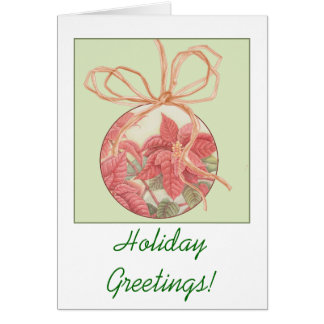 Poinsettia Bauble Postage Greeting Card