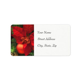 Poinsettia Beauty Address Label