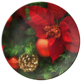 Poinsettia Beauty Porcelain Plate