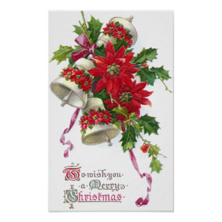 Poinsettia Bells and Holly Vintage Christmas Poster