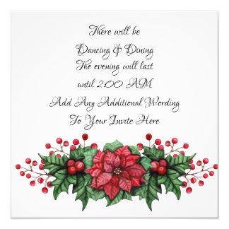 Poinsettia Berry Black Tie Event Invitation