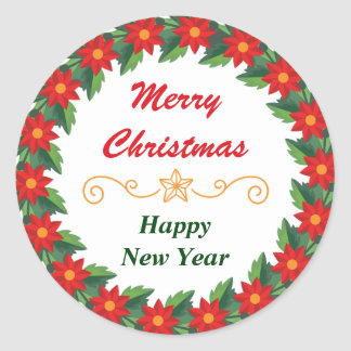 Poinsettia Border Merry Christmas Classic Round Sticker
