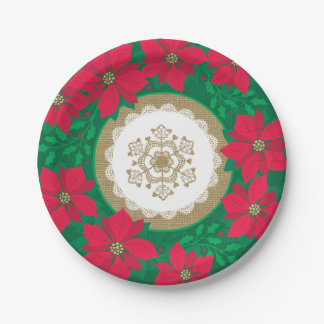 Poinsettia Burlap and Lace Christmas Paper Plate