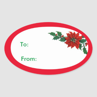 Poinsettia Christmas Holiday Gift Tag Sticker